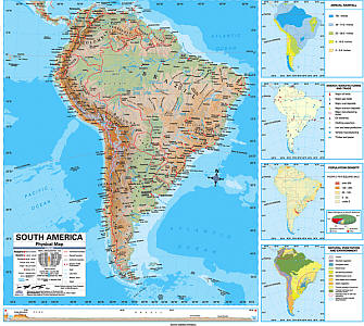 """South America Advanced Physical """"Classroom"""" WALL Map On Roller with Backboard."""