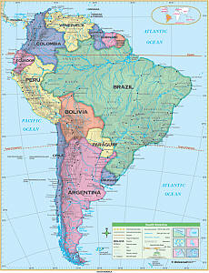 """South America Essential """"Classroom"""" WALL Map On Roller with Backboard."""