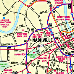 Middle Tennessee, Tourist Road Map, America.