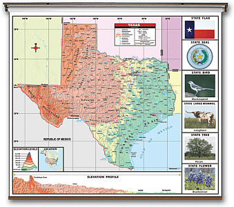 """Texas Thematic Primary """"Classroom"""" K-2 WALL Map."""