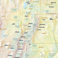 Utah Road and Shaded Relief WALL Map, America.