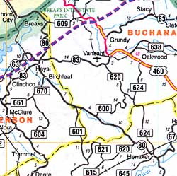 Virginia Road Map, America.