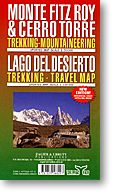 Monte Fitz Roy & Cerro Torre, Road and Topographic Travel Map, Chile..