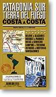 Patagonia Sur and Tierra Del Fuego (From The Argentine Coast to the Chilean Coast), Road and Topographic Travel Tourist Map, Argentina.