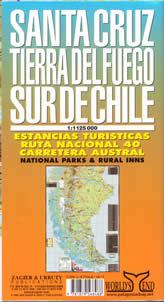 Santa Cruz Regional Road and Shaded Relief Tourist Map, Argentina.