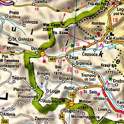Slovenia and Croatia, Road and Shaded Relief Tourist Map.