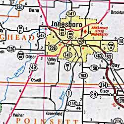 Arkansas Road and Tourist Map, America.