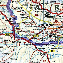 Armenia, Georgia Republic and Azerbaijan, Road and Shaded Relief Tourist Map, Caucasus Mountains.