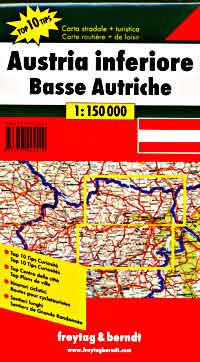 Austria, Lower (Northern) Top Ten Tips, Road and Shaded Relief Tourist Map.