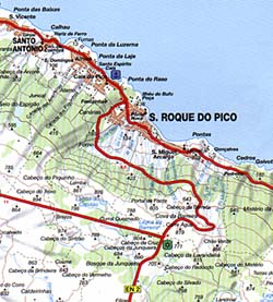 Azores Islands Road and Shaded Relief Tourist Map, Portugal.
