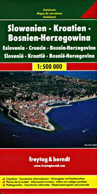 Bosnia and Herzegovina, Croatia, and Slovenia, Road and Tourist Map.