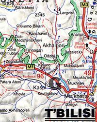 Azerbaijan, Georgia Republic and Armenia, Road and Shaded Relief Tourist Map, Caucasus Mountains.