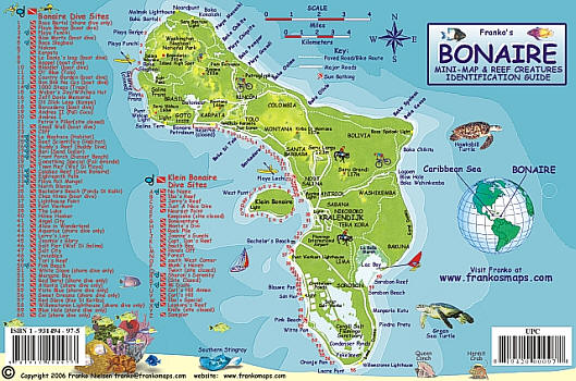 Bonaire Reef Creatures Road and Recreation Map.