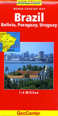 Brazil, Bolivia, Paraguay, and Uruguay, Road and Tourist Map.