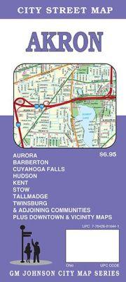 Akron City Street Map, Ohio, America.