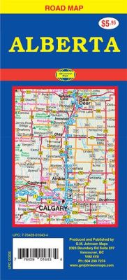 Alberta Road and Tourist map, Canada.