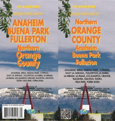 Anaheim and Orange County North city MAP, California, America.