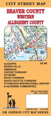 Beaver County & Western Allegheny County City Street Map, Pennsylvania, America.