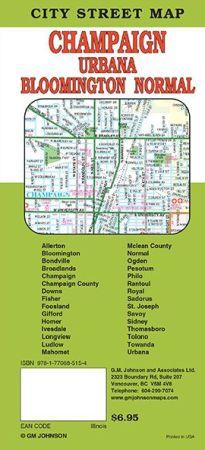 Bloomington, Champaign, Urbana City Street Map, Illinois, America.