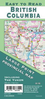 British Columbia Large Print, Yukon Canada Province map, Canada.