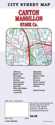Canton, Massillon and Stark County City Street Map, Ohio, America.