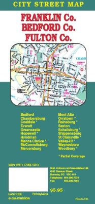 Chambersburg, Bedford, Franklin & Fulton Co City Street Map, Pennsylvania, America.