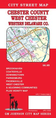 Chester County City Street Map, Pennsylvania, America.