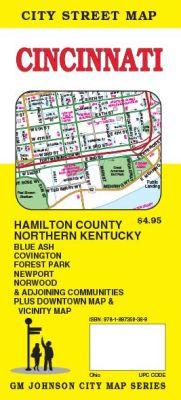 Cincinnati City Street Map, Ohio, America.