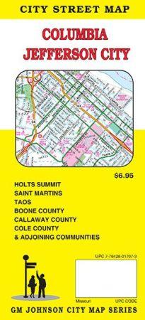 Columbia, Jefferson City Street Map, Missouri, America.