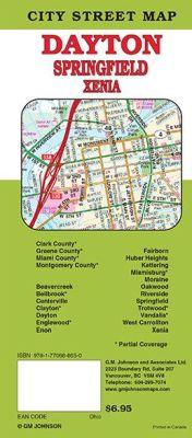 Dayton, Springfield and Xenia City Street Map, Ohio, America.