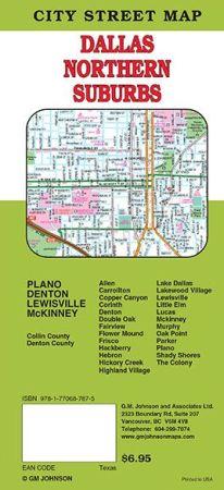 Denton, Plano, McKinney and Dallas North City Street Map, Texas, America.