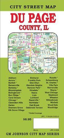 Du Page County City Street Map, Illinois, America.