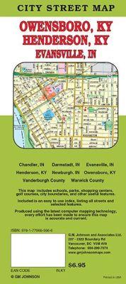 Evansville and Henderson City Street Map, Kentucky, America.