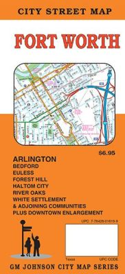 Ft. Worth and Arlington City Street Map, Texas, America.