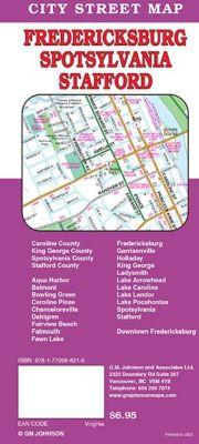 Frederickburg City Street Map, Virginia, America.