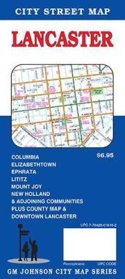 Lancaster and Lancaster County City Street Map, Pennsylvania, America.