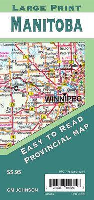 Manitoba Provinces Road and Tourist Map, Canada.