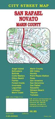 Marin County street map, California, America.