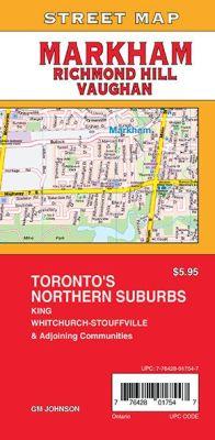 Markham, Vaughan and Richmond Hill City Street Map, Ontario, Canada.