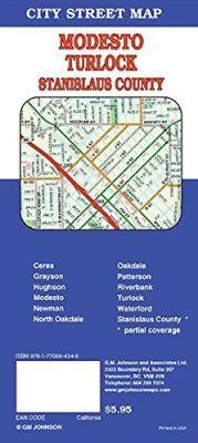 Modesto and Turlock street map, California, America.