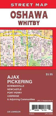 Oshawa, Pickering, Whitby, Ajax, Bowmanville City Street Map, Ontario, Canada.