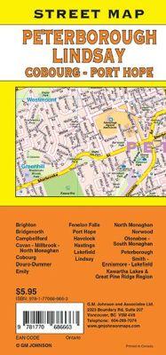 Peterborough, Lindsay, Coburg and Port Hope City Street Map.