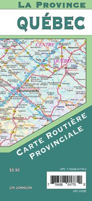Quebec Province Tourist Road Map, Canada.