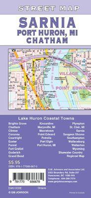 Sarnia, Chatham, Goderich and Port Huron MI City Street Map, Ontario, Canada.