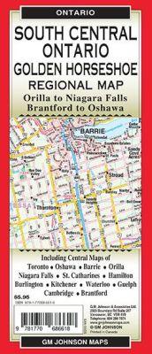 South Central Ontario Regional Road Map, Ontario, Canada.