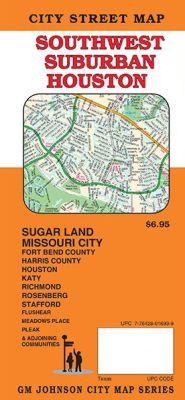 Southwest Suburban Houston City Street Map, Texas, America.