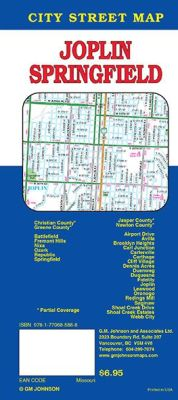 Springfield and Joplin City Street Map, Missouri, America.
