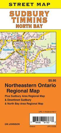 Sudbury, North Bay and Timmins City Street Map, Ontario, Canada.