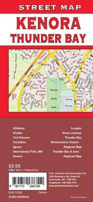 Thunder Bay, Kenora, Fort Frances and Dryden City Street Map, Ontario, Canada.