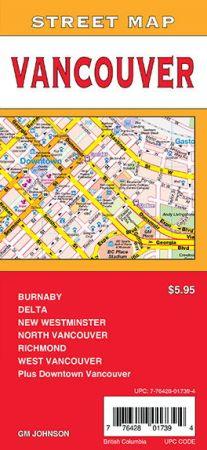 Vancouver City Street Map, British Columbia, Canada.